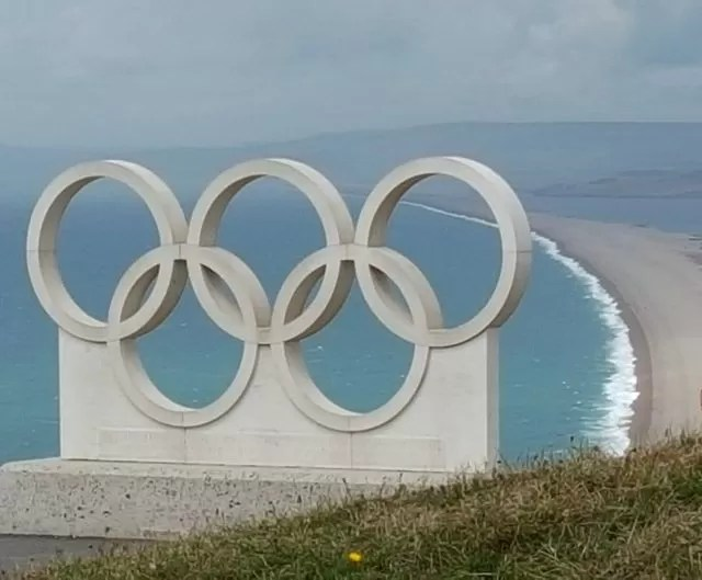 Weymouth & Portland Olympic rings overlooking Chesil Beach