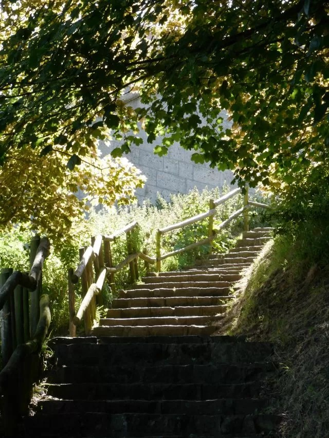 sunlight down the steps Nothe Gardens Weymouth Harbour