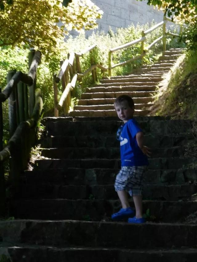 walking up the sunlit steps