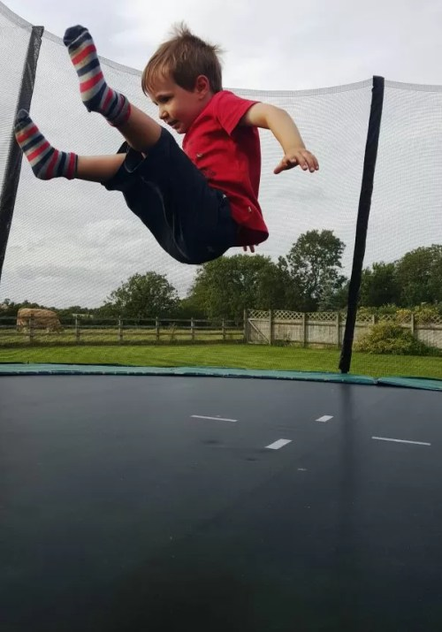 huge jump trampolining action from a 4 year old
