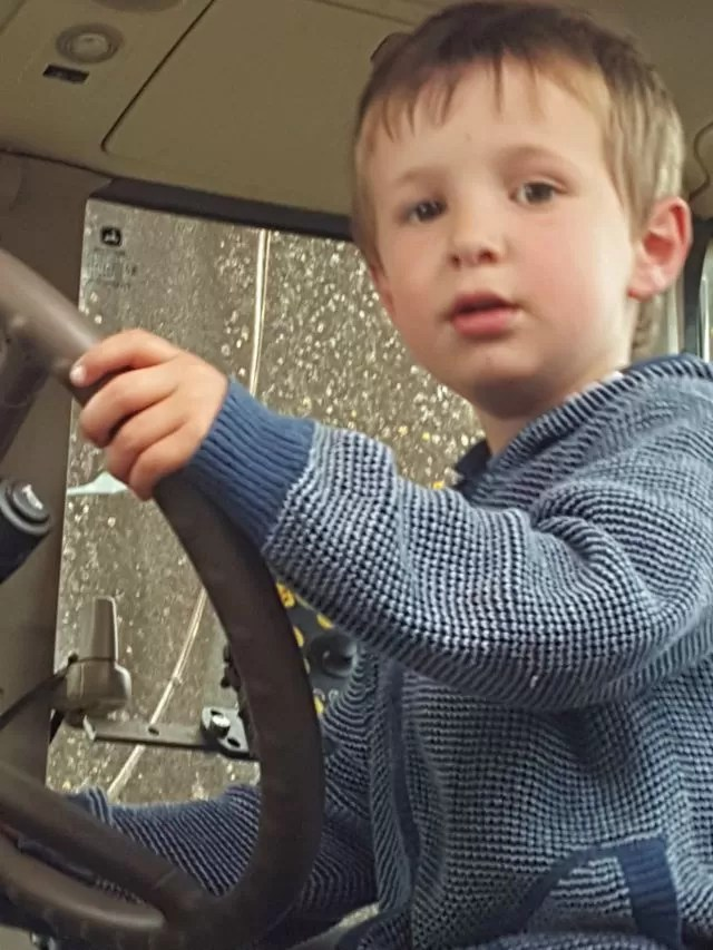 driving the tractor