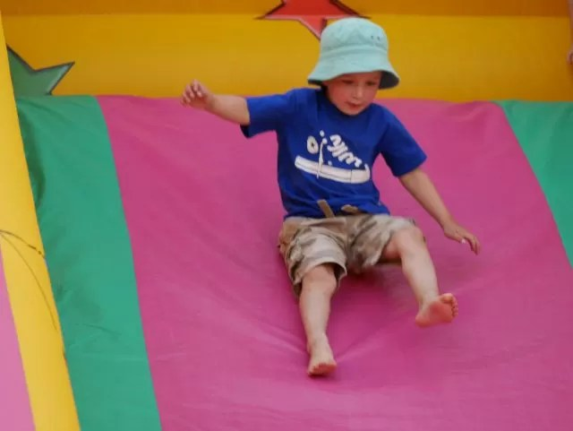 On the bouncy slide