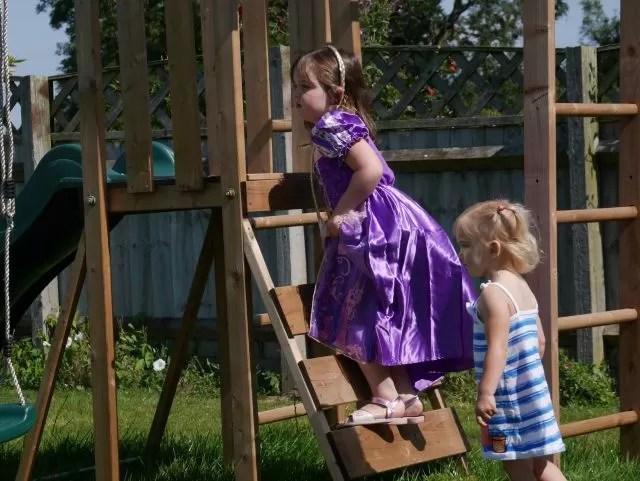 Rapunzel on a climbing frame