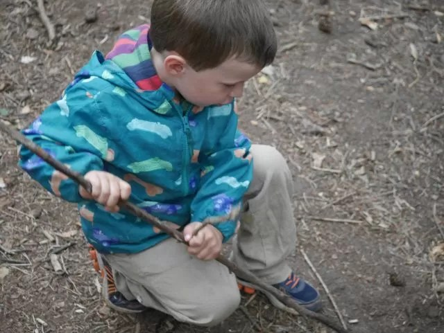 mark making with a stick