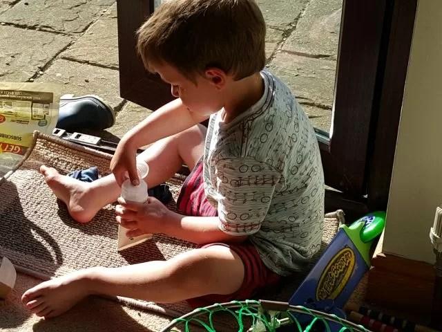 rubbing in sun lotion
