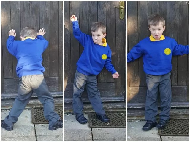 first day at school posing photos