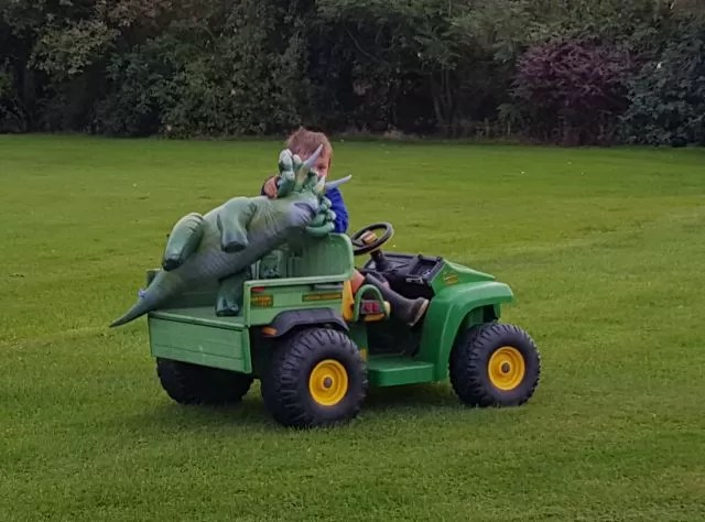 taking the dinosaur for a ride