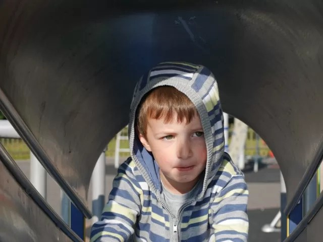 climing through the tunnel slide