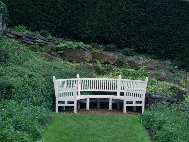 pretty white bench at Upton house