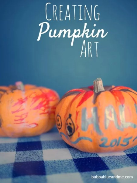 Creating pumpkin art - Bubbablueandme
