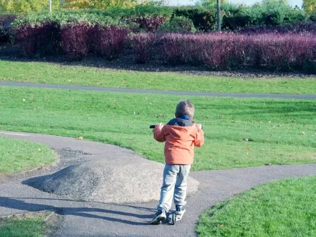 scooting round the mini bike course