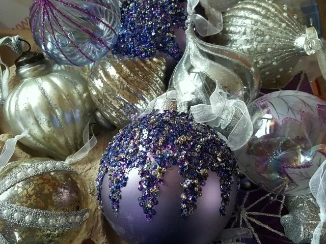 beautiful purple and silver baubles