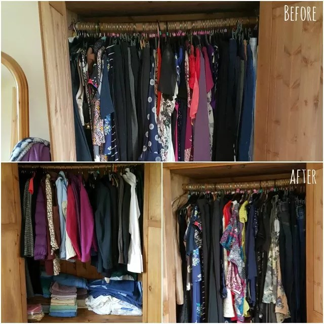before and after konmari decluttering - clothes