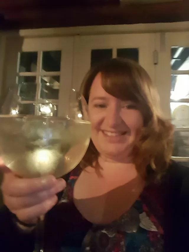 big drink of wine at 3 Pigeons pub