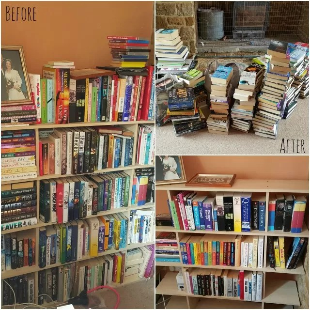 books before and after konmari method
