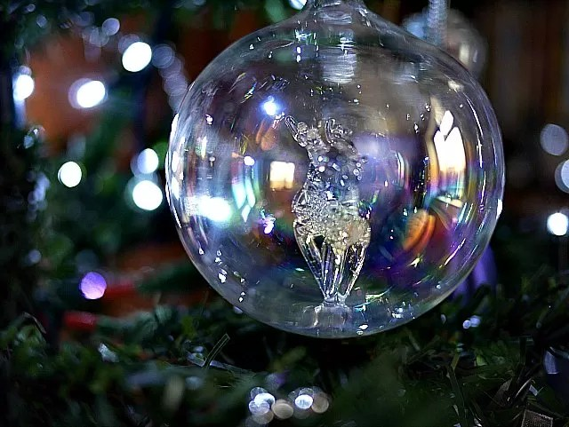 deer in a bauble on a christmas tree