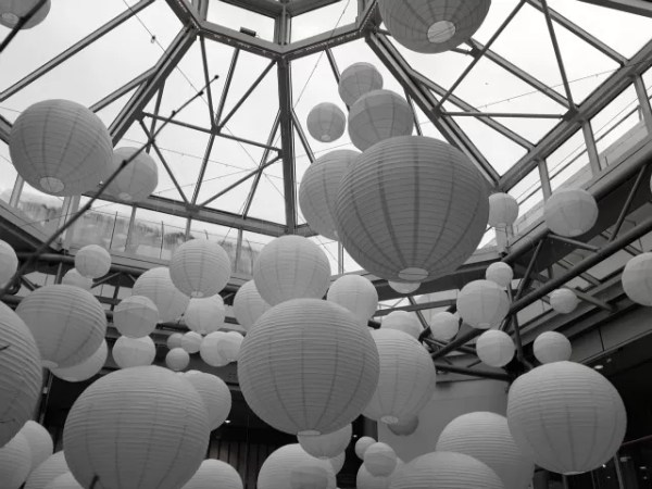 paper lanterns in Warwick Arts Centre - black and white