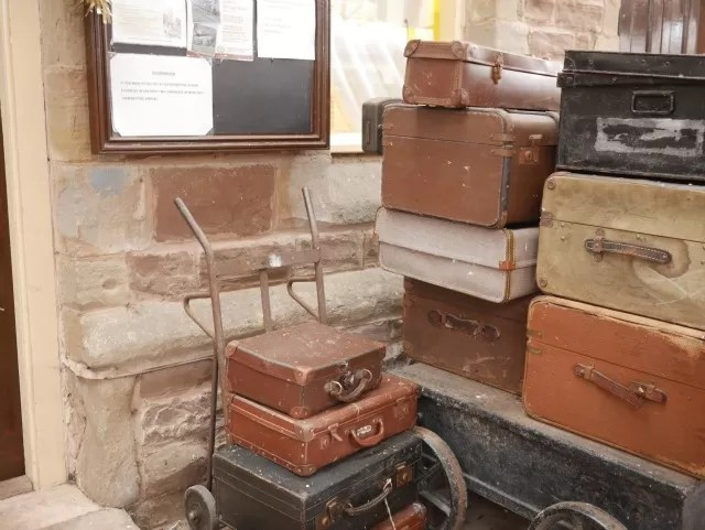 vintage luggage at the station