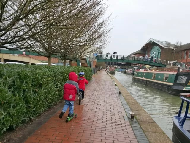 cycling alongside the canal