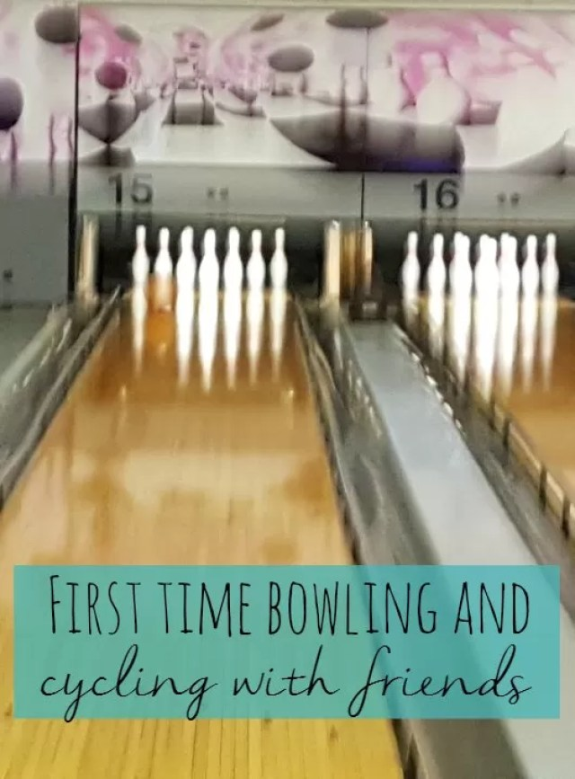 first time bowling and cycling with friends  Bubbablue and me