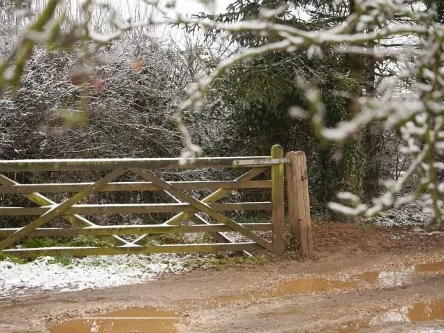 melting snow at the farm gate