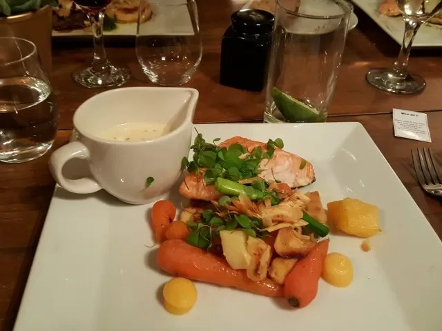 roasted salmon and veg at The Castle