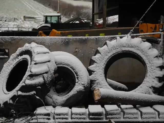 snowy tyres on the farm