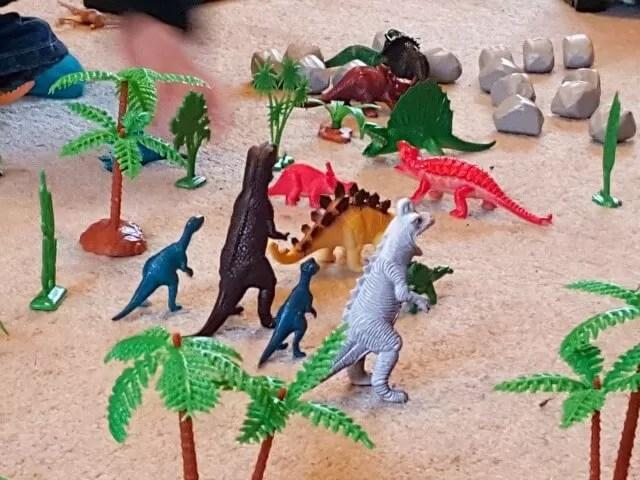 dinosaur models set up