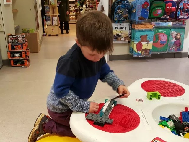 lego table to keep children entertained at Boswells