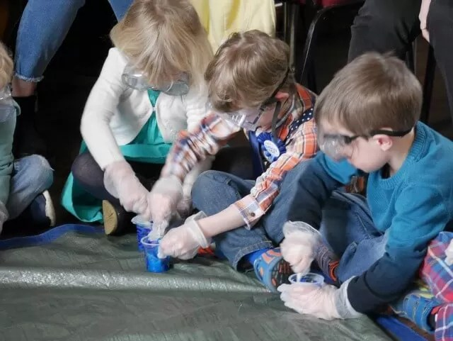 making slime at the science party