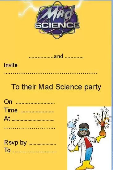 science party invitation