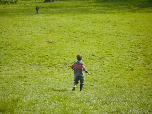 running down the hill at Waddesdon Manor