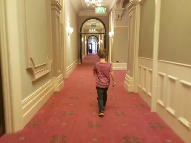 marching the corridors at the Grand Hotel Eastbourne