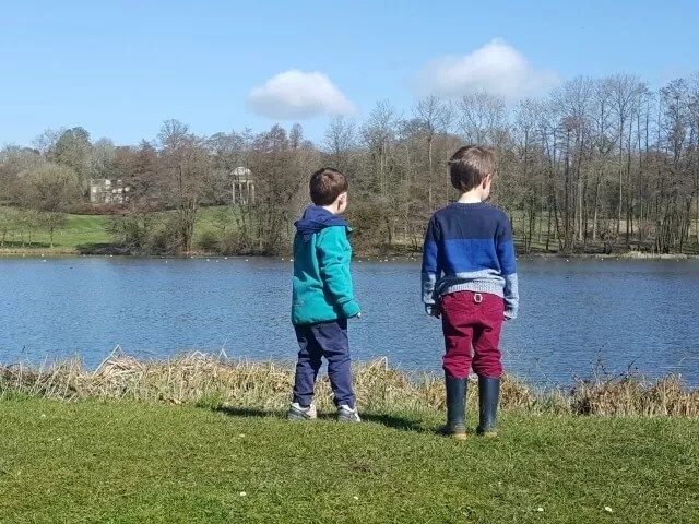 overlooking the lake at Stowe Gardens