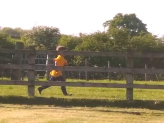 running to round up sheep