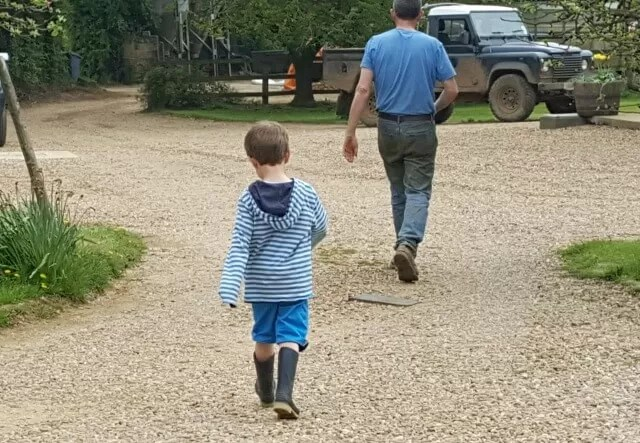 striding dad and son - mothercare shorts