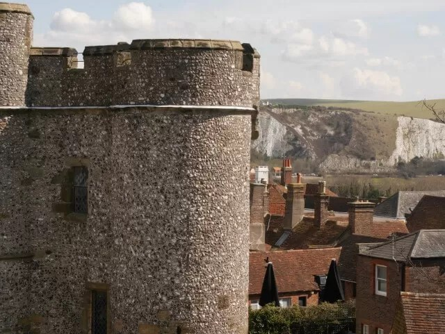 white cliffs seen from Lewes castle