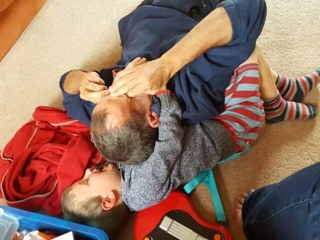 Mucking around with Dad.