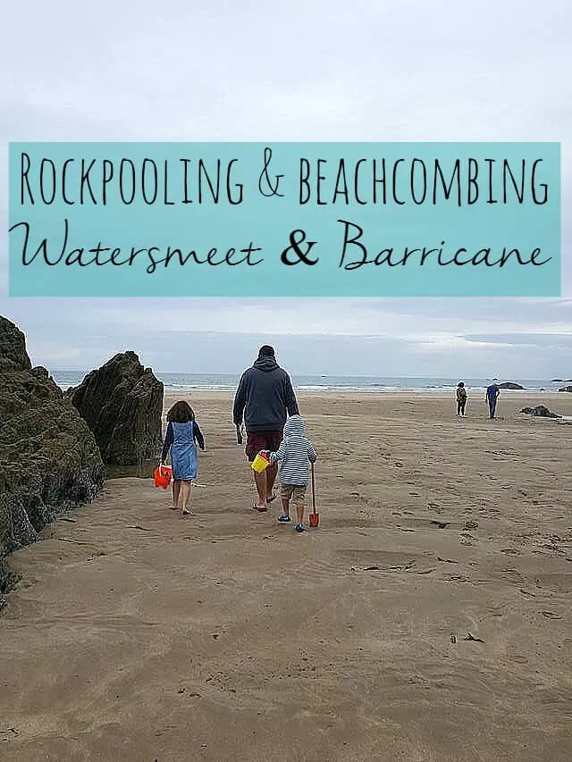 Friends going beachcombing and rockpooling at Watersmeet beach Bubbablue and me