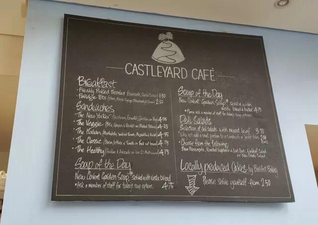 menu at castleyard cafe