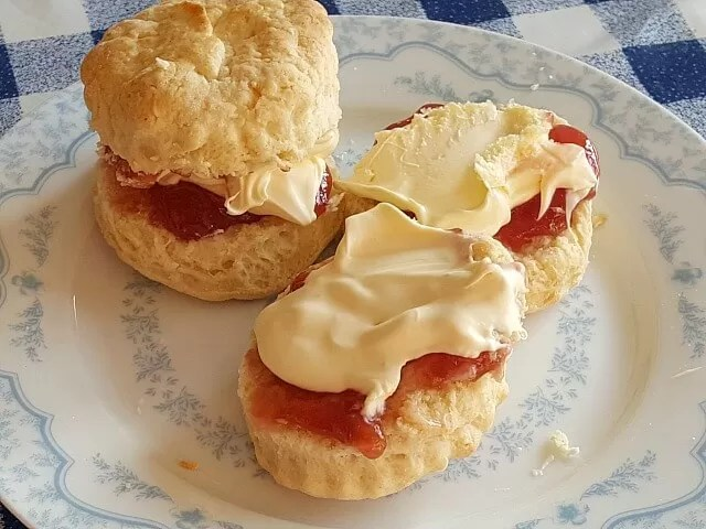 scones with raspberry jam and clotted cream