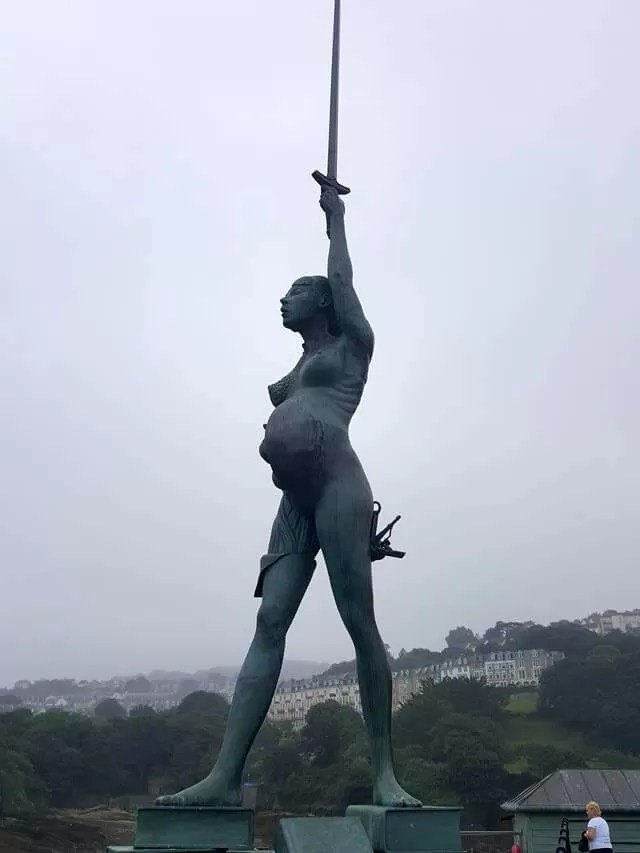 Anthony Gormley Pregnant warrior statue in Ilfracombe