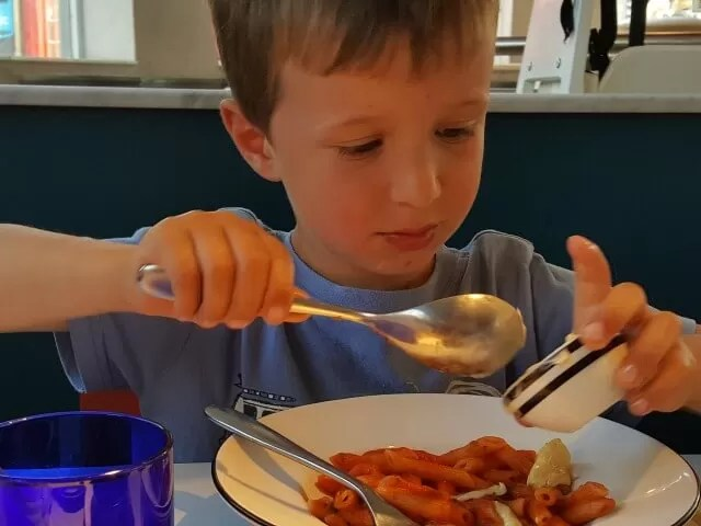 doctoring a pizza express pasta dish - eating out