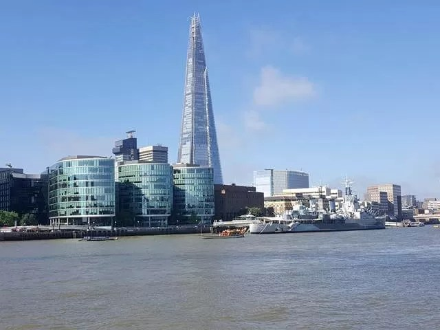 View of the shard from the thames