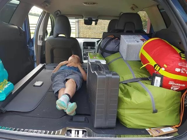camping stuff packed in the car