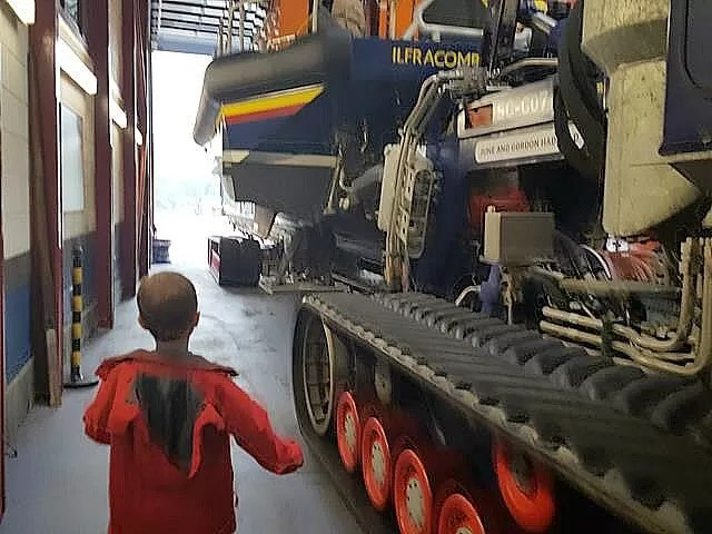 looking at the lifeboat tractor at ilfracombe