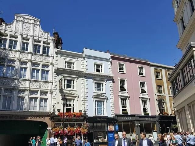 pretty coloured buildings in London