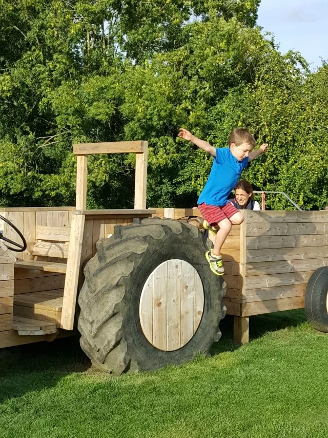 jumping off the plaground tractor