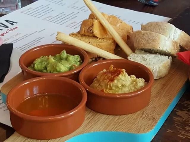 dips and breads at brava tapas restaurant