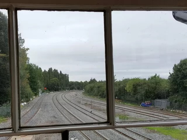 through the signal box window